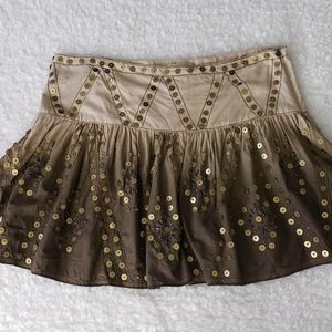 Cotton Ombre Brown Sequined Short Flare Skirt 10